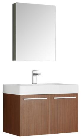 """Fresca Fresca Vista 30"""" Teak Wall Hung Modern Bathroom ..."""
