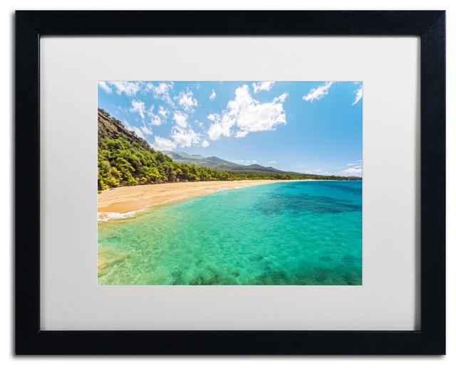 Pierre Leclerc &x27;makena Beach Maui&x27; Matted Framed Art, Black Frame, White, 20x16.