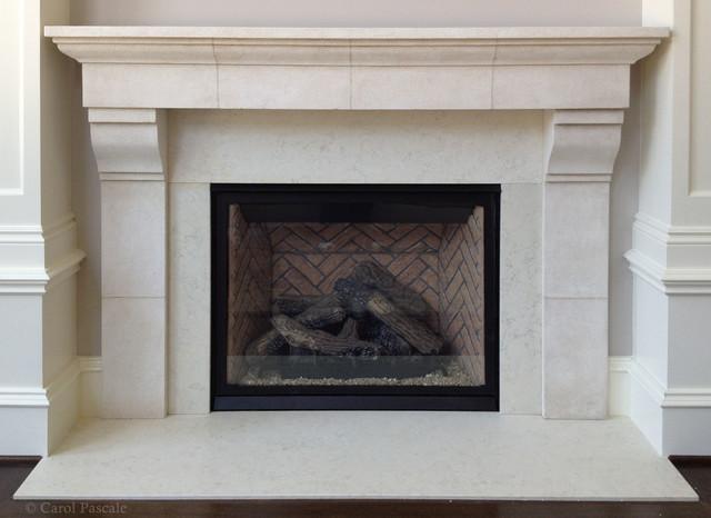 French Limestone Fireplace Mantel Traditional Philadelphia By