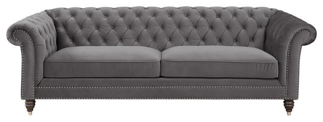 Emerald Home Capone Sofa Platinum.