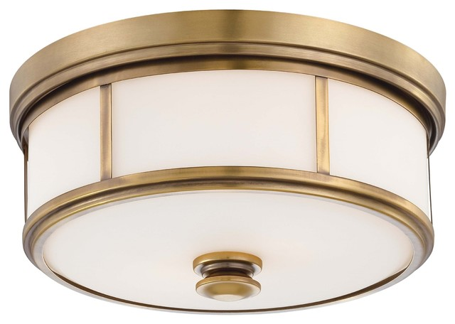 Harbour Point 2-Light Flush Mount, Liberty Gold.