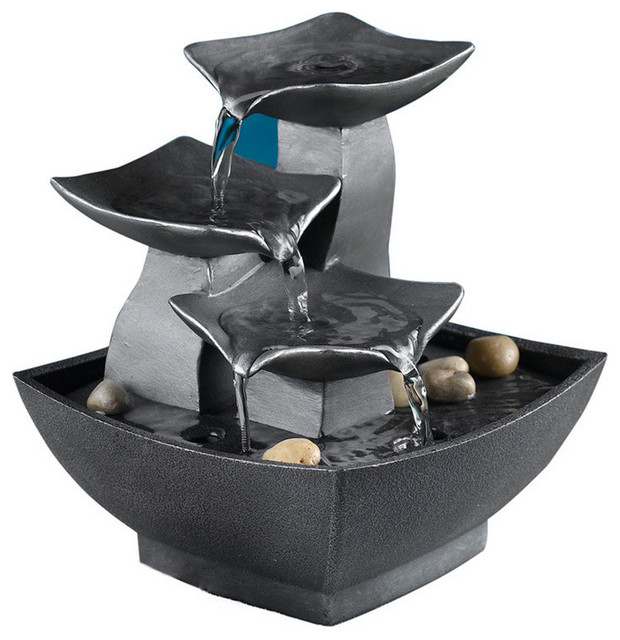 Jeco Inc Patio Decorative Tabletop Leaves Water Fountain