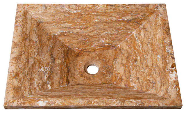 Vessel Sink, Rectangular, Walnut Travertine.