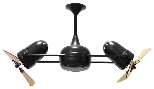 Duplo Dinamico Rotational Ceiling Fan With Mahogany Blades, Bronzette Finish.