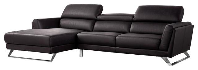 Divani Casa Doss Modern Eco-Leather Sectional Sofa, Black.