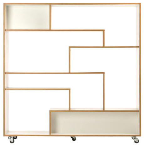 Southbury Large Bookcase White And Oak Contemporary Bookcases By Woodman