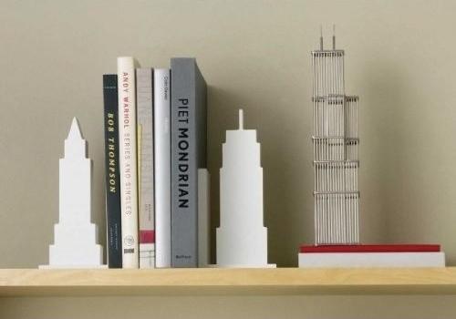 Design Ideas Skyline Bookends, White