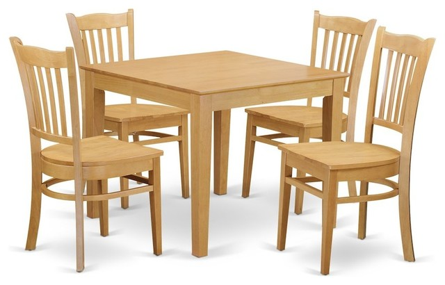 5 Piece Kitchen Table Set, Kitchen Dinette Table And 4 Dining Chairs, Oak