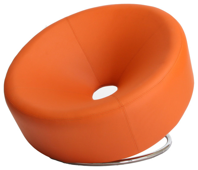 leather accent chair orange