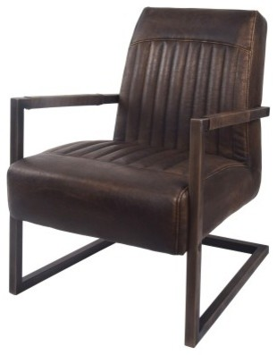 Jonah PU Leather Arm Chair, Distressed Bronze