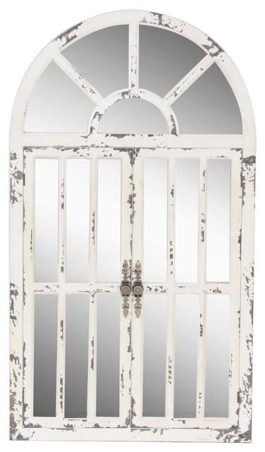 White Vintage Wood Wall Mirror 46 X 26, Distressed White Wood Farmhouse Door Wall Mirror