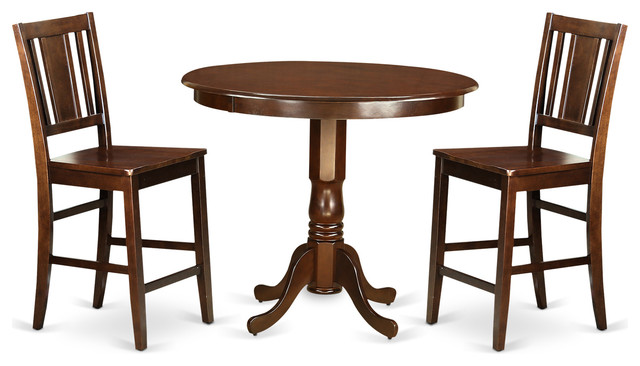 alicia counter height dining table set mahogany 3 pieces transitional indoor pub and. Black Bedroom Furniture Sets. Home Design Ideas