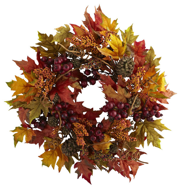 Nearly Natural Home Garden Decor 24 Maple And Berry Wreath.