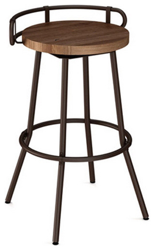 Button Swivel Stool With Wood Seat Industrial Bar
