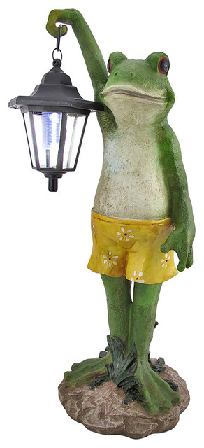 Shop Houzz Zeckos Outdoor Frog With Lantern Solar Light Garden