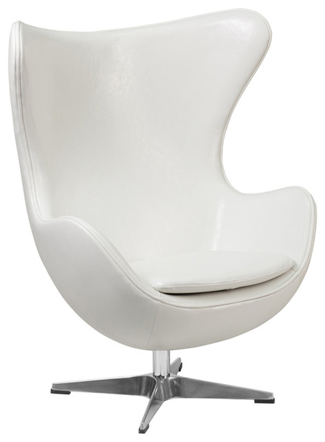 Remarkable Offex White Leather Egg Chair With Tilt Lock Mechanism Gamerscity Chair Design For Home Gamerscityorg