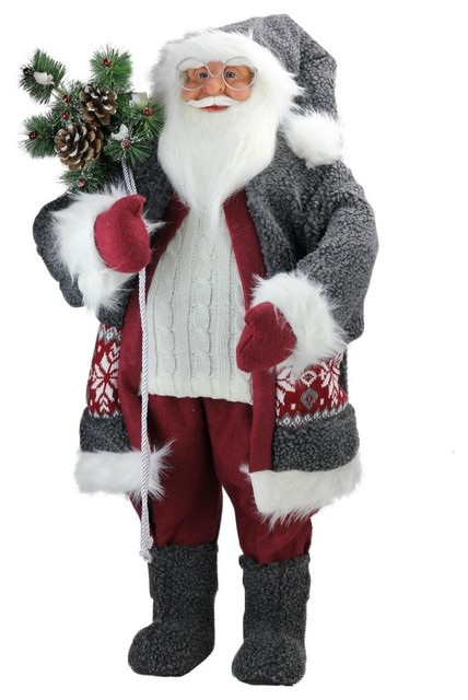 "32"" Santa In Plush Gray Suit, Sack Of Pine Christmas Figure Decoration."