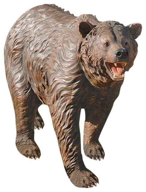Grand Scale Brown Bear Rustic Garden Statues And Yard Art