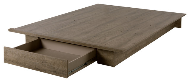 Amsterdam Platform Bed With Drawer, Weathered Oak, Full/queen.