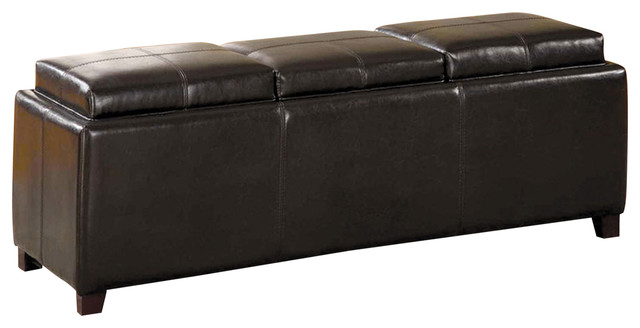 Hopa Tray Top Storage Ottoman Upholstered Leatherette