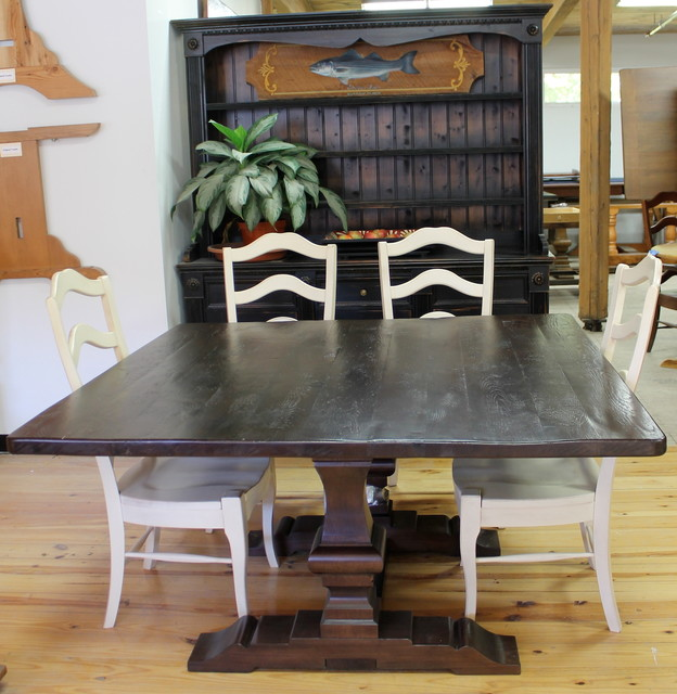 Rustic Square Trestle Dining Table - Square trestle dining table
