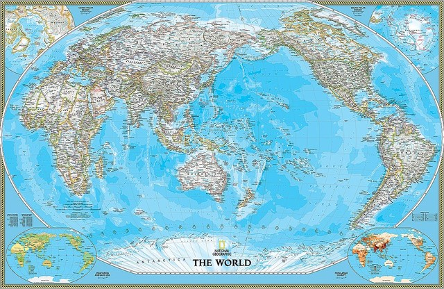 Pacific-Centered Political World Map Wall Mural, Self-Adhesive Wallpaper