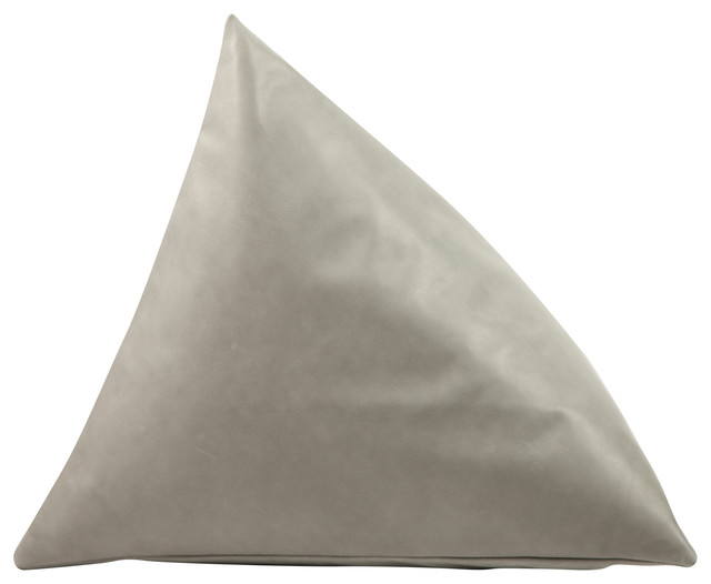 Moore And Giles Leather Triangle Pillow, Steam.