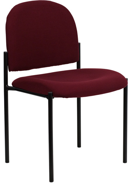 Fabric Comfortable Stackable Steel Side Chair, Burgundy
