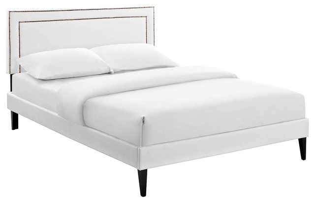 Modway Virginia Full Platform Bed With Squared Tapered Legs, White.