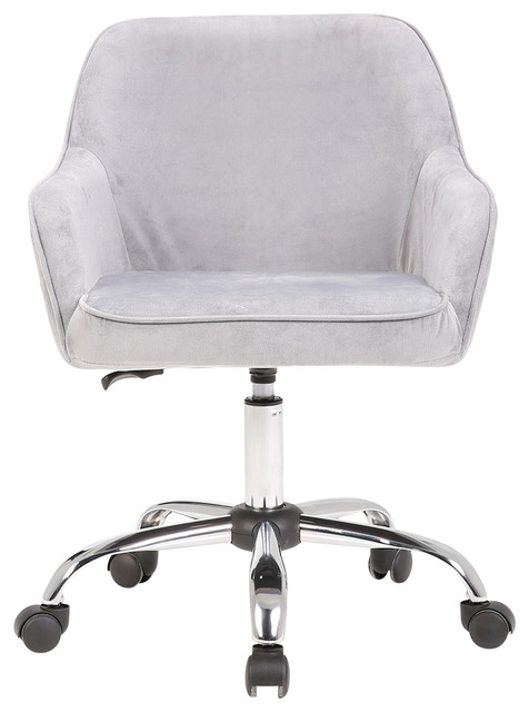 Mid Back Velvet Office Chair With Padded Seat And Lumbar
