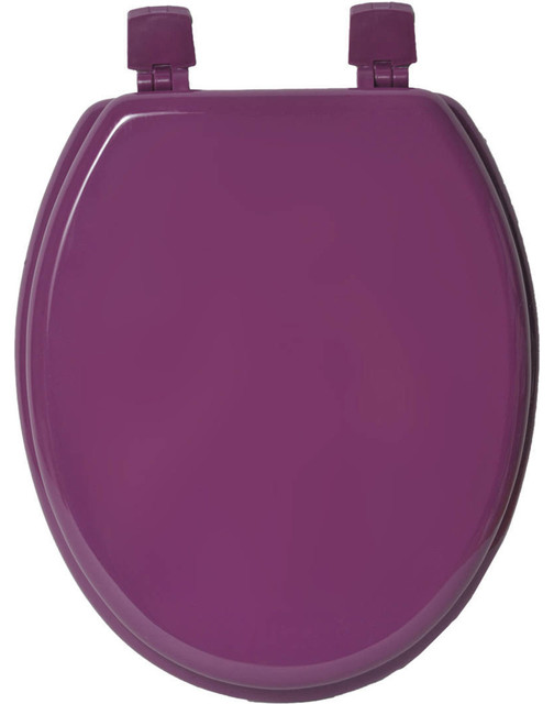 Fantastic Oval Elongated Toilet Seat Solid Color Wood Purple Violet Short Links Chair Design For Home Short Linksinfo