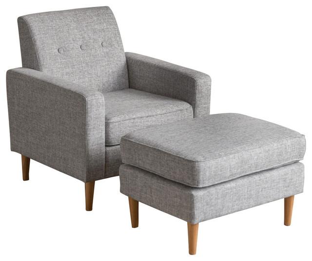 Gdf Studio Samuel Mid Century Modern Fabric Club Chair And