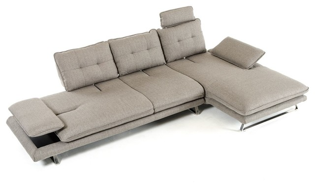 Divani Casa Porter Modern Gray Fabric Sectional Sofa.