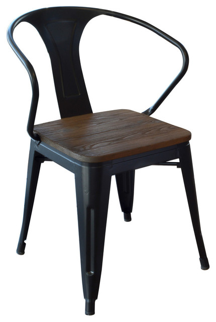 Amerihome Dchairbwt Loft Black Metal Dining Chairs With Wood Seat, Set Of 4.