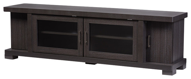 Viveka Wood Tv Cabinet, Dark Brown.
