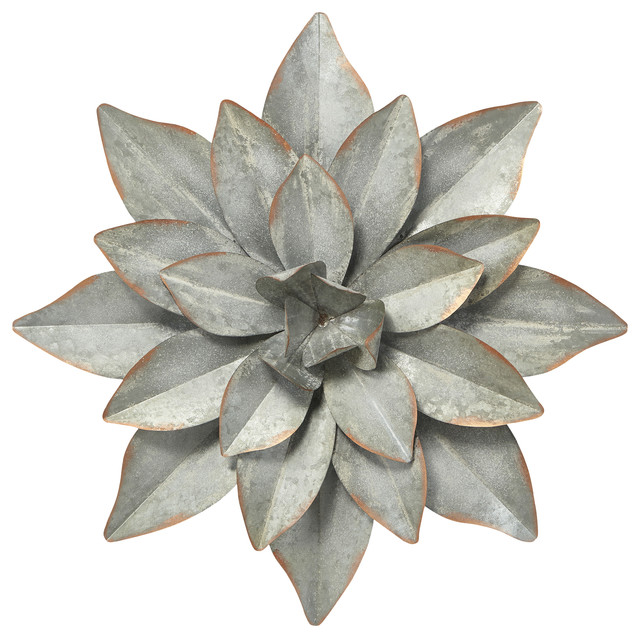 Metal Flower Wall Decor, Silver