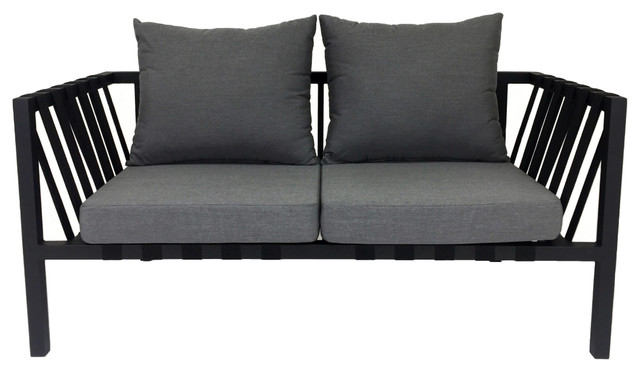 Lovely Flex Outdoor 2 Seater Sofa, Flanelle And Black Contemporary Outdoor  Loveseats
