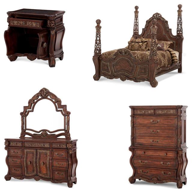 Essex manor poster bedroom set 5 piece set traditional for Bedroom furniture essex