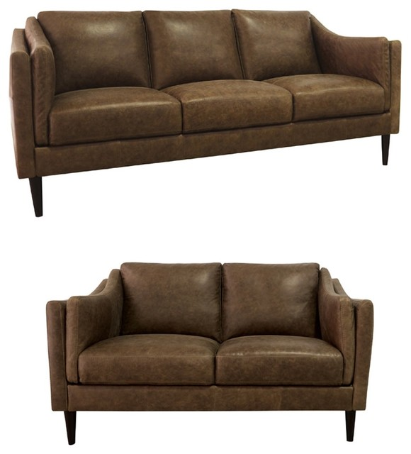 Excellent Luke Leather Ava 2 Piece Sofa Set In Bomber Tan Ava Sl Cjindustries Chair Design For Home Cjindustriesco