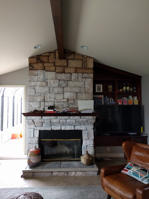 Redesign fireplace and built-in bookshelves