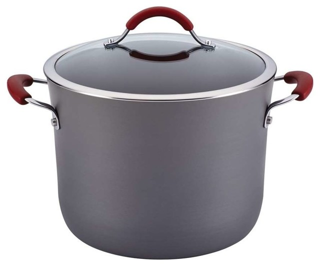 Rachael Ray Cucina Anodized Nonstick 10-Quart Stockpot, Gray With Red.