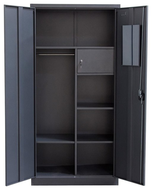 2 Door Metal Closet With Safe And Mirror With Key Lock Entry  Transitional Armoires