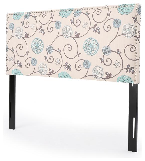 Halifax Fabric Queen/full Headboard, Blue & White Floral.