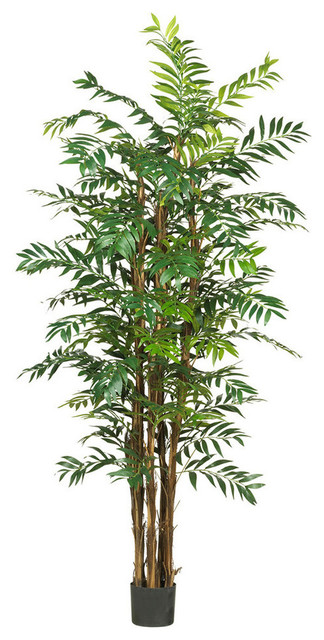 7 ft. Bamboo Palm Silk Tree in Green