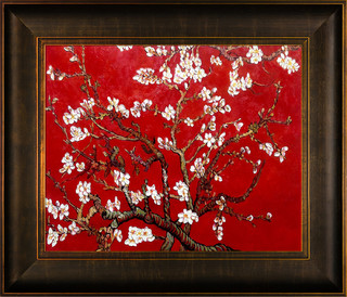 """Branches of an Almond Tree in Blossom, Ruby Red"" - Modern - Paintings - by overstockArt"