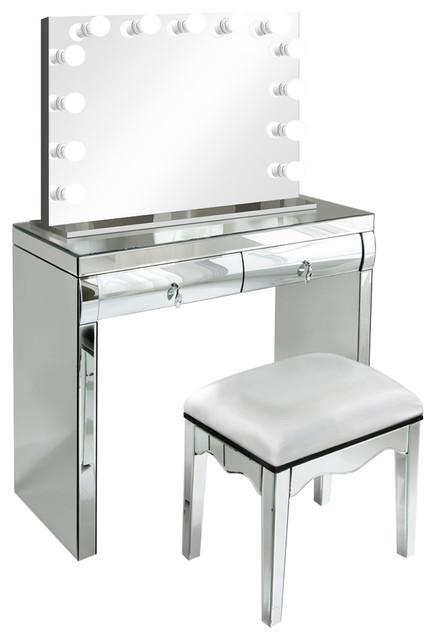"Mirrored Vanity Table And Stool: Krugg Reflections 40"" Mirrored Vanity Table With Chair And"