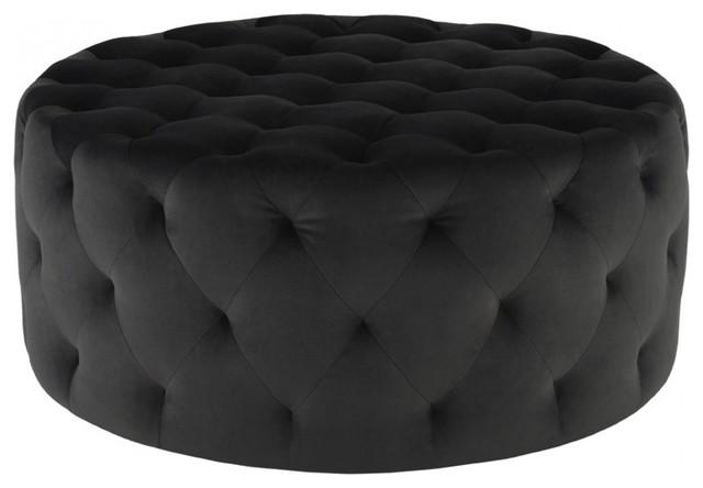 Strange 38 W Ottoman Round Dark Grey Velour Diamond Tufted Modern Styling Ibusinesslaw Wood Chair Design Ideas Ibusinesslaworg
