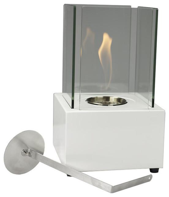 White Cubic Ventless Tabletop Bio Ethanol Fireplace.