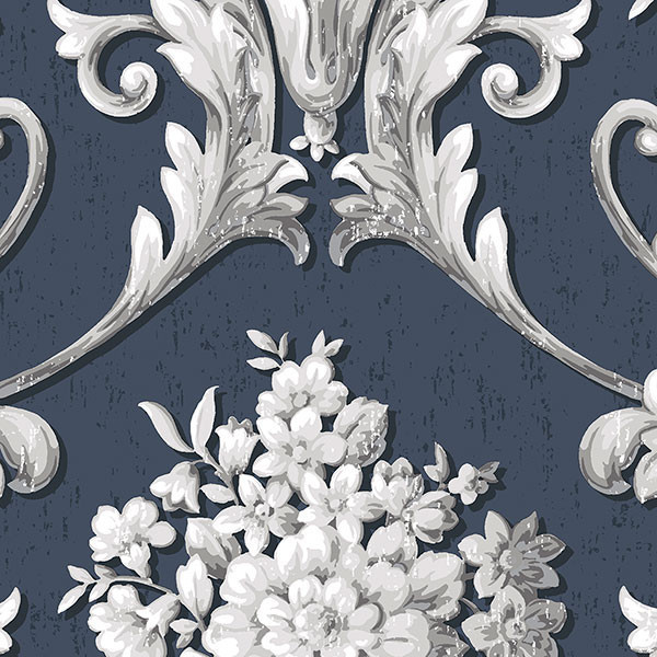 Fl Damask Navy Silver Cs35627 Double Roll