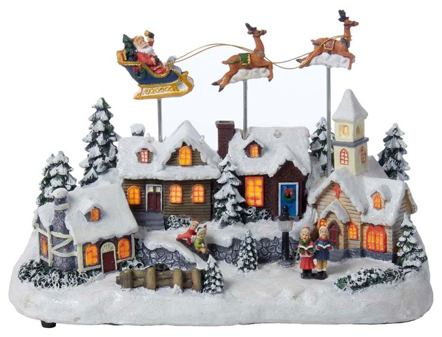 11 battery operated musical led village with santa and deer